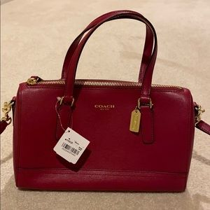 Brand New Coach Saffiano Mini Satchel - Scalet Red